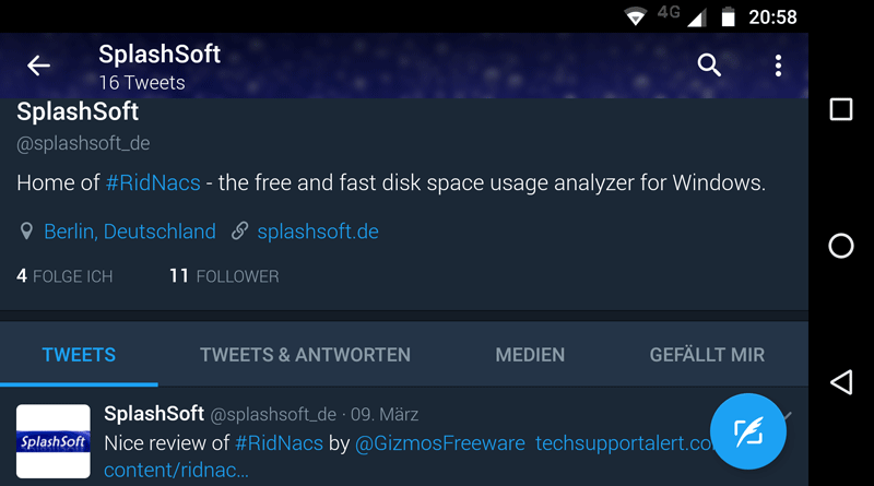 Splashsoft Twitter Android Screenshot